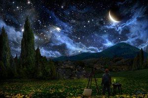 Alex Ruiz, Notte stellata di Van Gogh, opera d' arte digitale