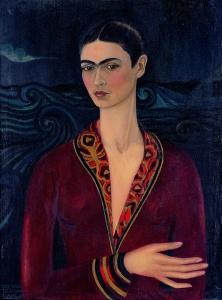 Frida Kahlo, autoritratto con vestito di velluto