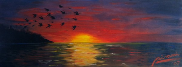 dipinto-quadro-tramonto-con-stormo-di-uccelli-474_LARGE[1]